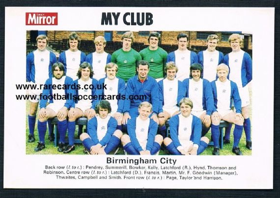 1970 My Club Daily Mirror postcard-size card Birmingham City